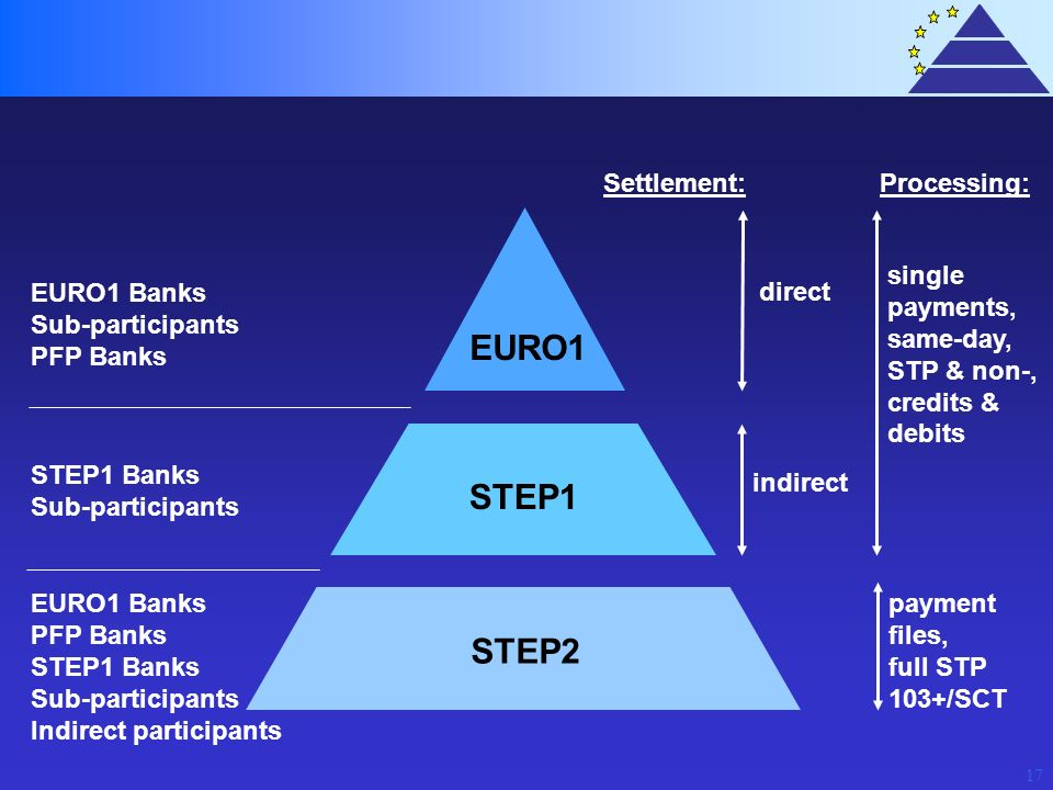 EURO1 STEP1 STEP2 Settlement: Processing: single payments, same-day,