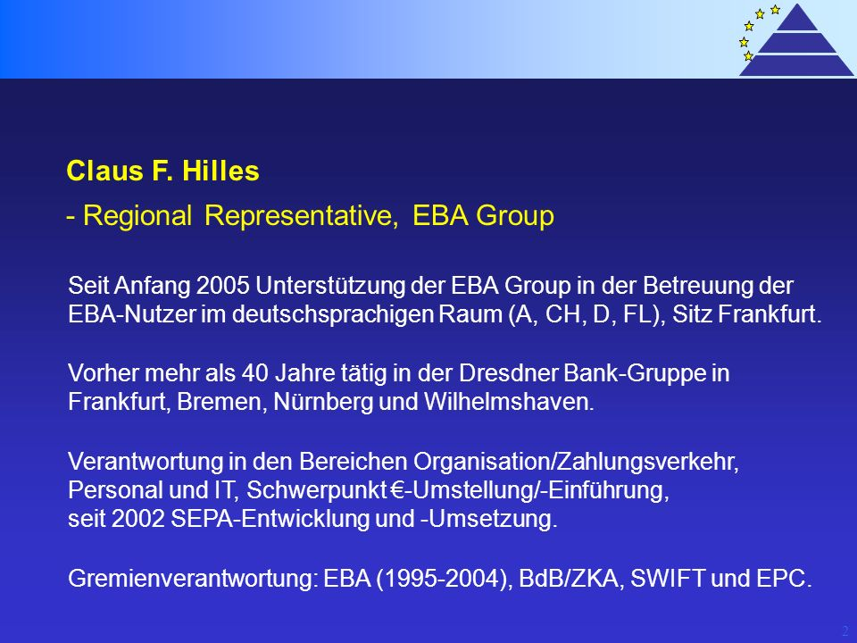 - Regional Representative, EBA Group