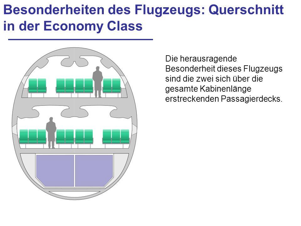Besonderheiten des Flugzeugs: Querschnitt in der Economy Class
