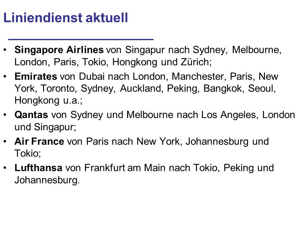 Liniendienst aktuell Singapore Airlines von Singapur nach Sydney, Melbourne, London, Paris, Tokio, Hongkong und Zürich;