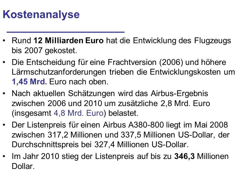 Kostenanalyse Rund 12 Milliarden Euro hat die Entwicklung des Flugzeugs bis 2007 gekostet.