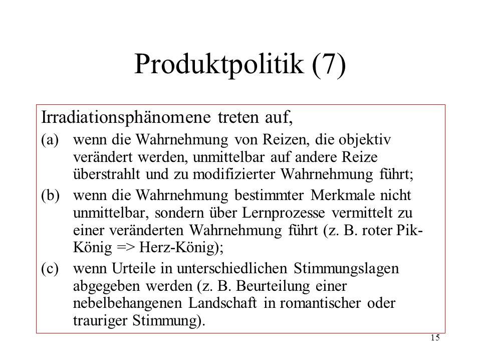 Produktpolitik (7) Irradiationsphänomene treten auf,