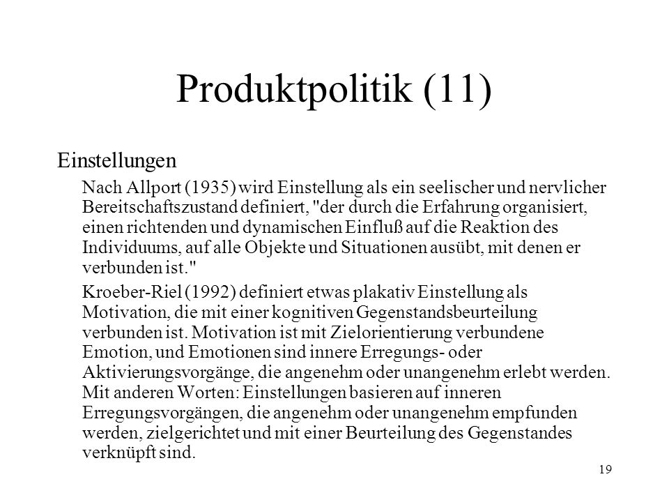 Produktpolitik (11) Einstellungen