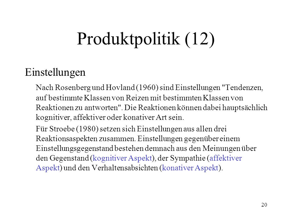 Produktpolitik (12) Einstellungen