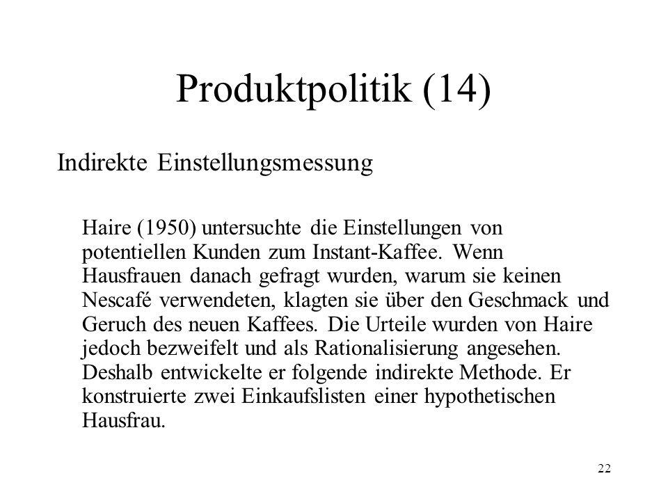 Produktpolitik (14) Indirekte Einstellungsmessung