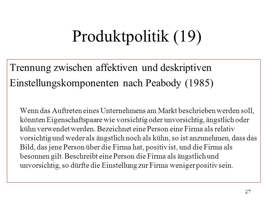 Produktpolitik (19) Trennung zwischen affektiven und deskriptiven