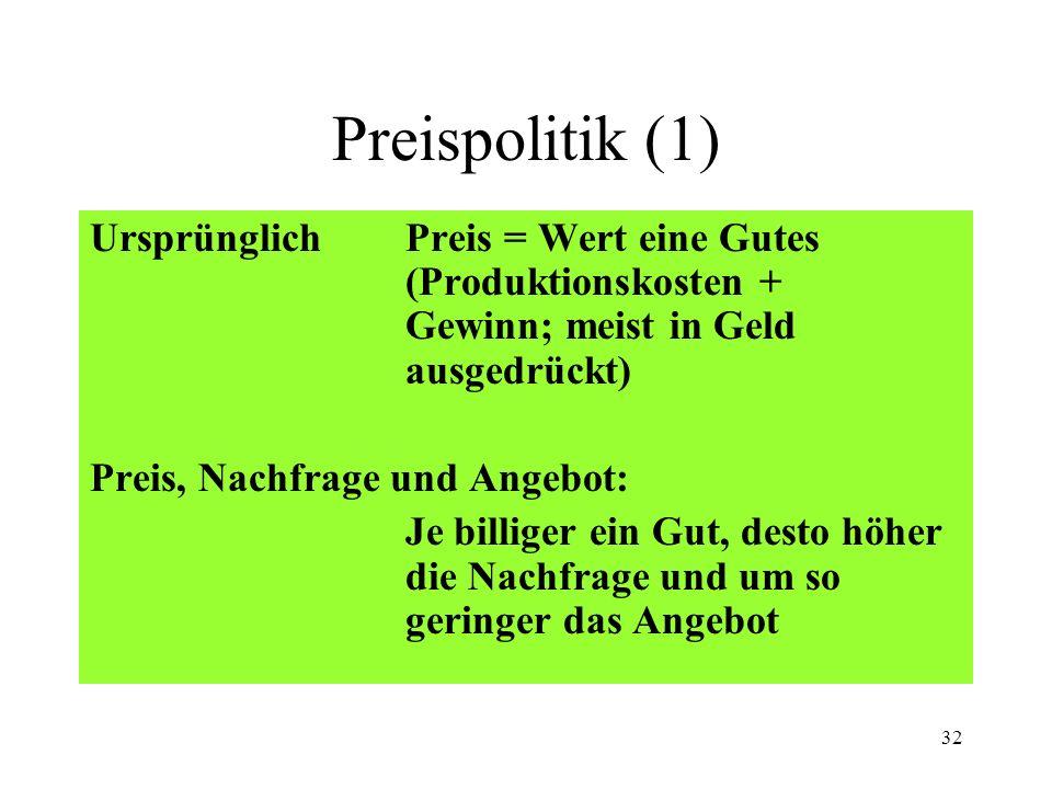Preispolitik (1) Ursprünglich Preis = Wert eine Gutes (Produktionskosten + Gewinn; meist in Geld ausgedrückt)