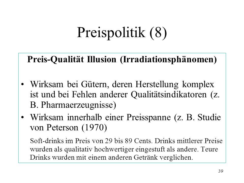 Preis-Qualität Illusion (Irradiationsphänomen)