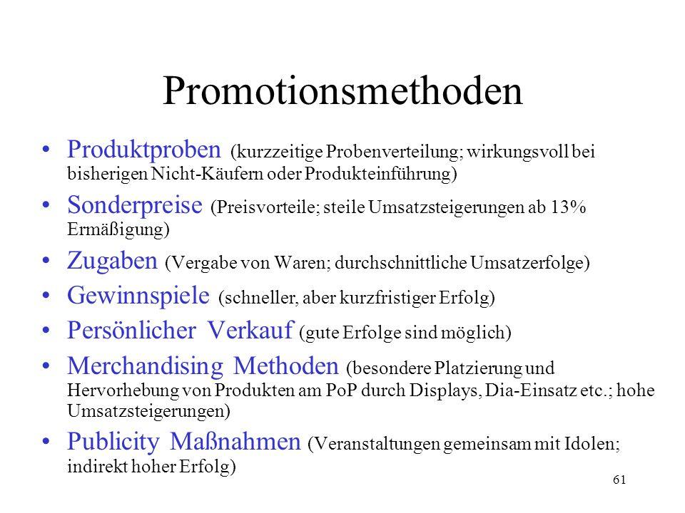Promotionsmethoden Produktproben (kurzzeitige Probenverteilung; wirkungsvoll bei bisherigen Nicht-Käufern oder Produkteinführung)