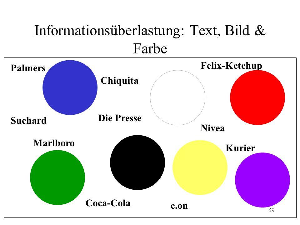 Informationsüberlastung: Text, Bild & Farbe