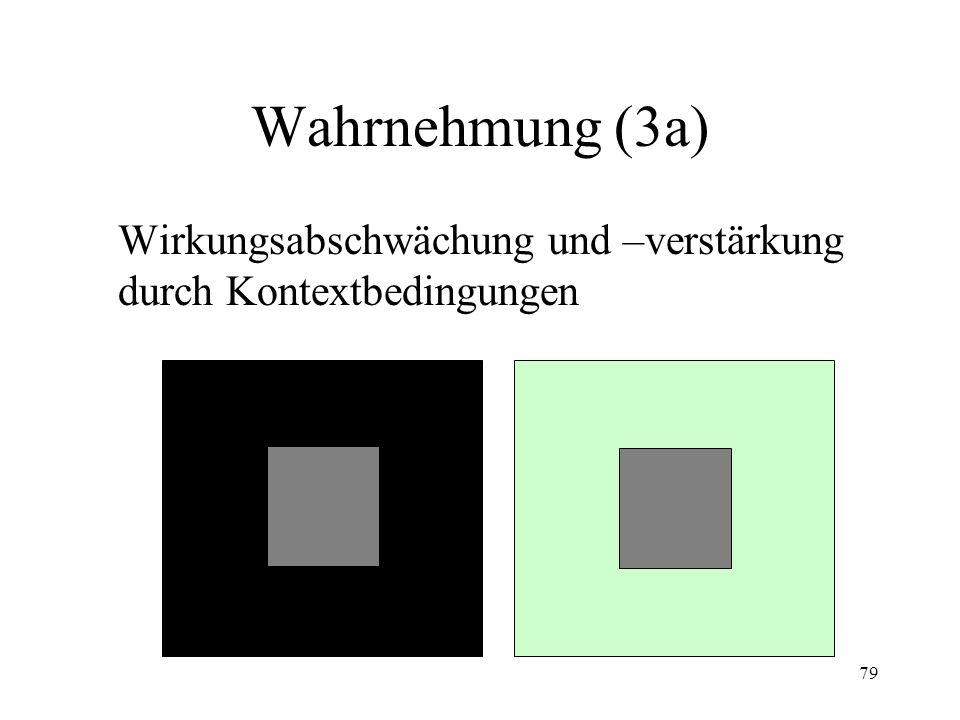 Wahrnehmung (3a) Wirkungsabschwächung und –verstärkung durch Kontextbedingungen