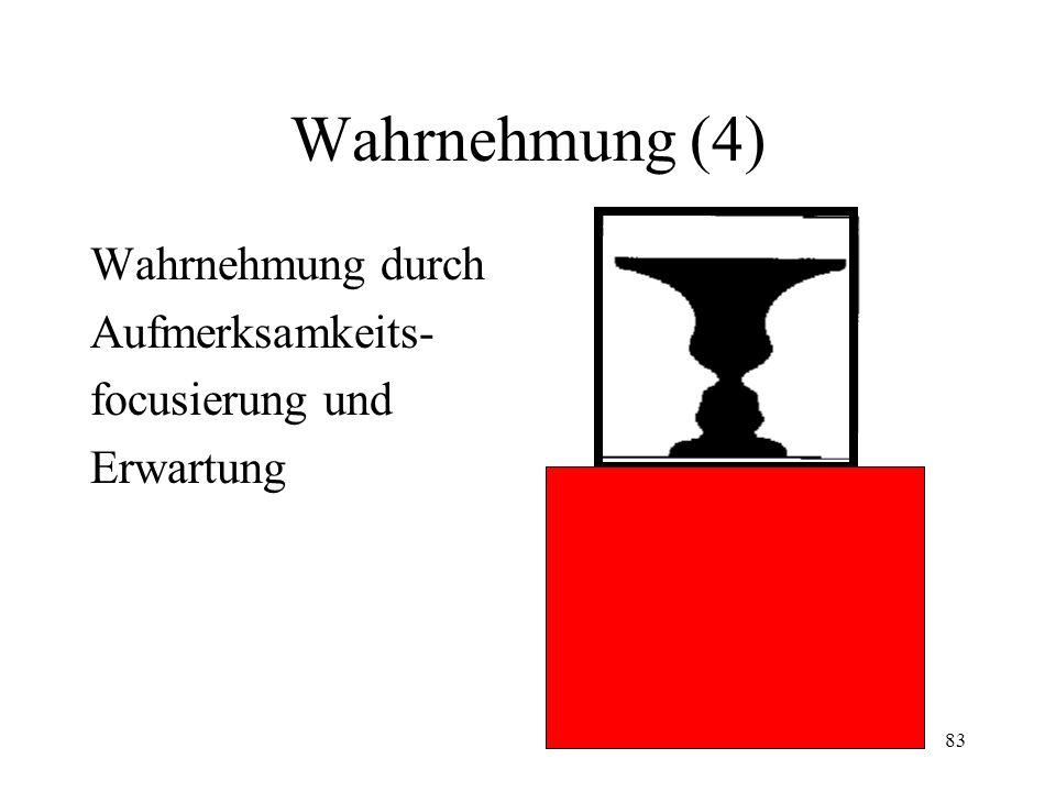 Wahrnehmung (4) Wahrnehmung durch Aufmerksamkeits- focusierung und