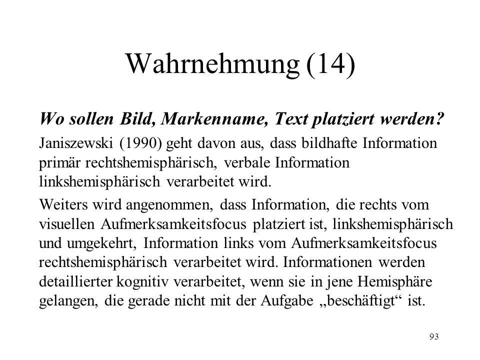 Wahrnehmung (14) Wo sollen Bild, Markenname, Text platziert werden