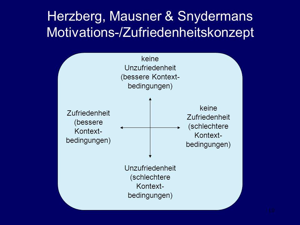 Herzberg, Mausner & Snydermans Motivations-/Zufriedenheitskonzept