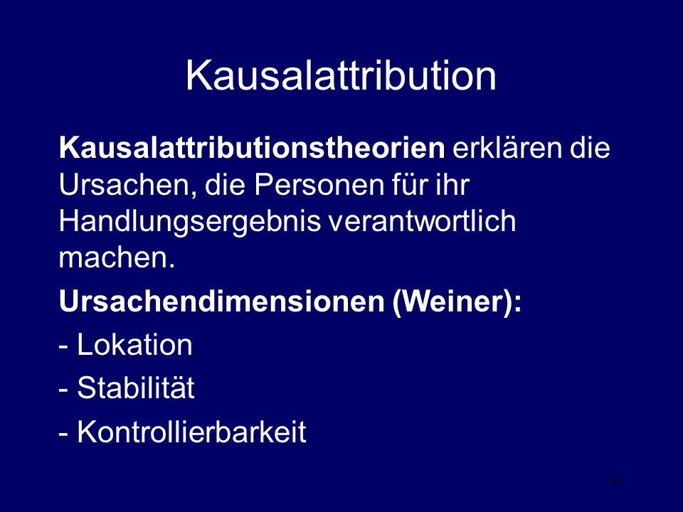 Kausalattribution Kausalattributionstheorien erklären die Ursachen, die Personen für ihr Handlungsergebnis verantwortlich machen.