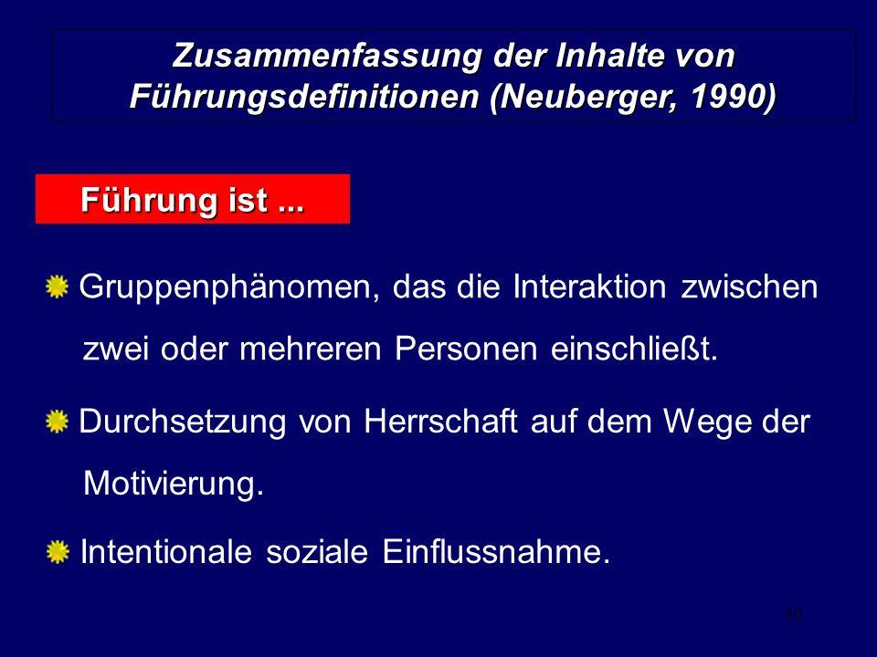Zusammenfassung der Inhalte von Führungsdefinitionen (Neuberger, 1990)
