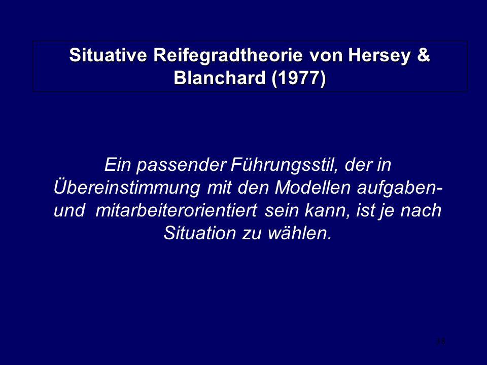 Situative Reifegradtheorie von Hersey & Blanchard (1977)
