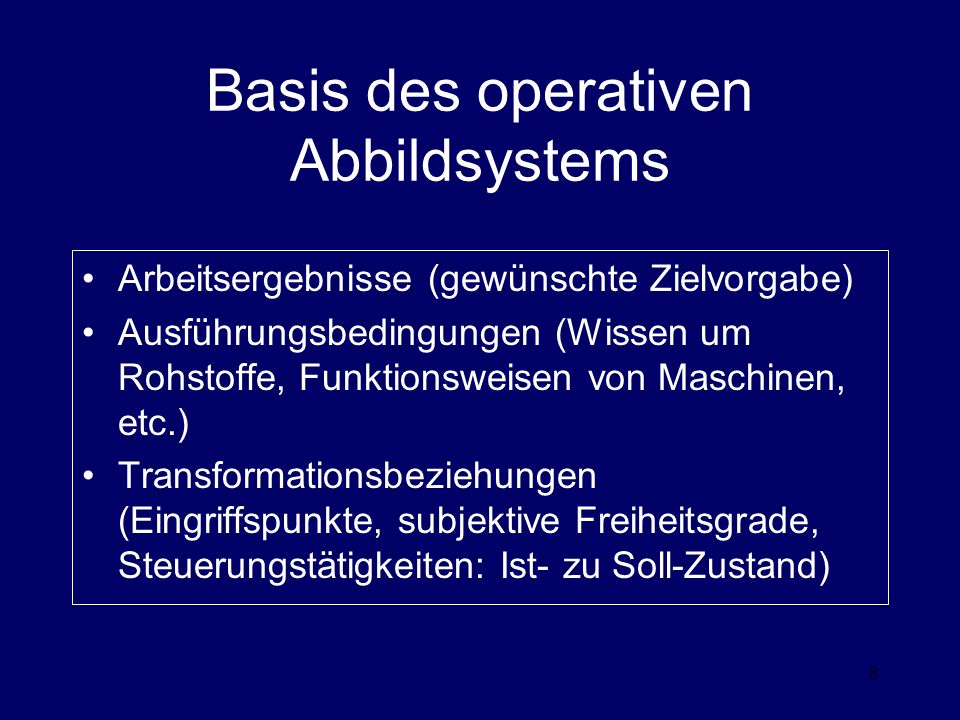 Basis des operativen Abbildsystems