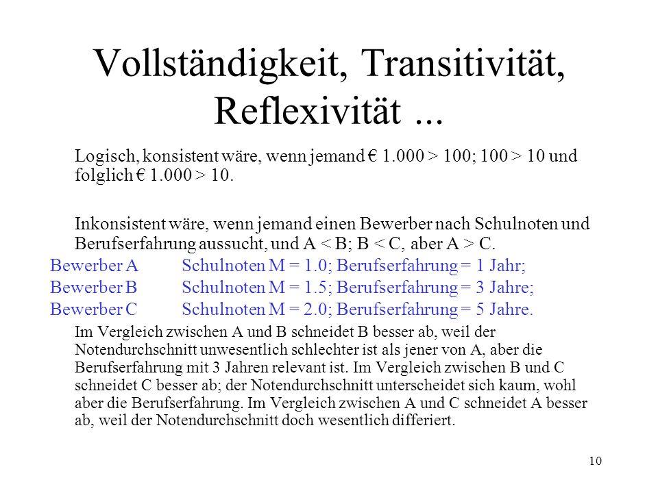 Vollständigkeit, Transitivität, Reflexivität ...