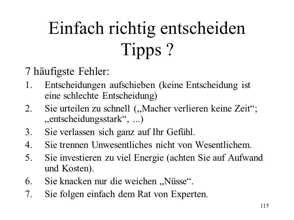 Einfach richtig entscheiden Tipps