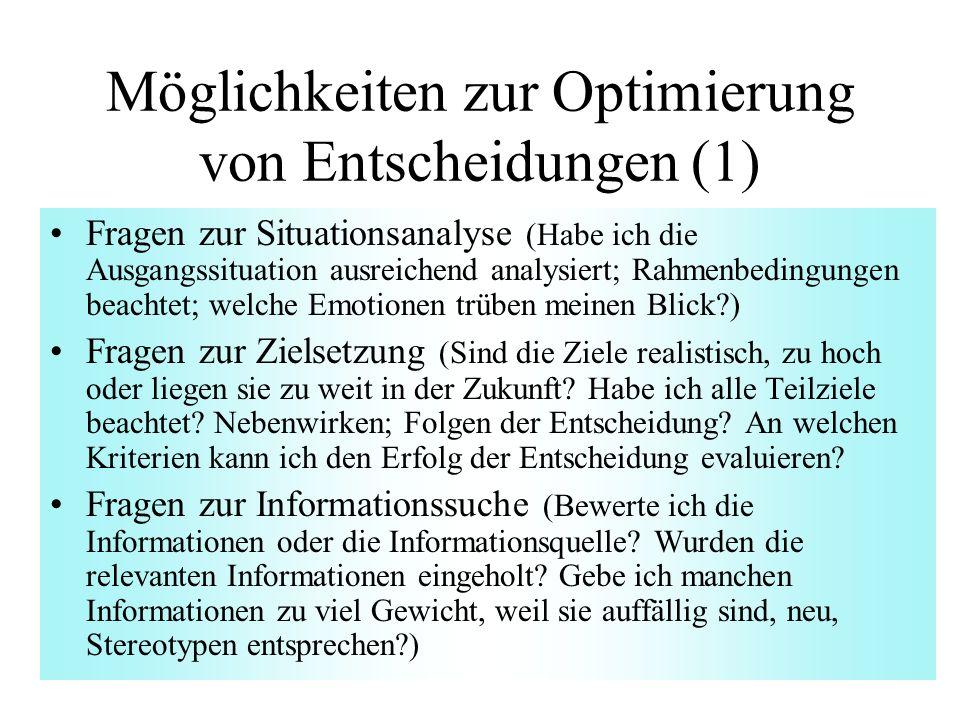 Möglichkeiten zur Optimierung von Entscheidungen (1)