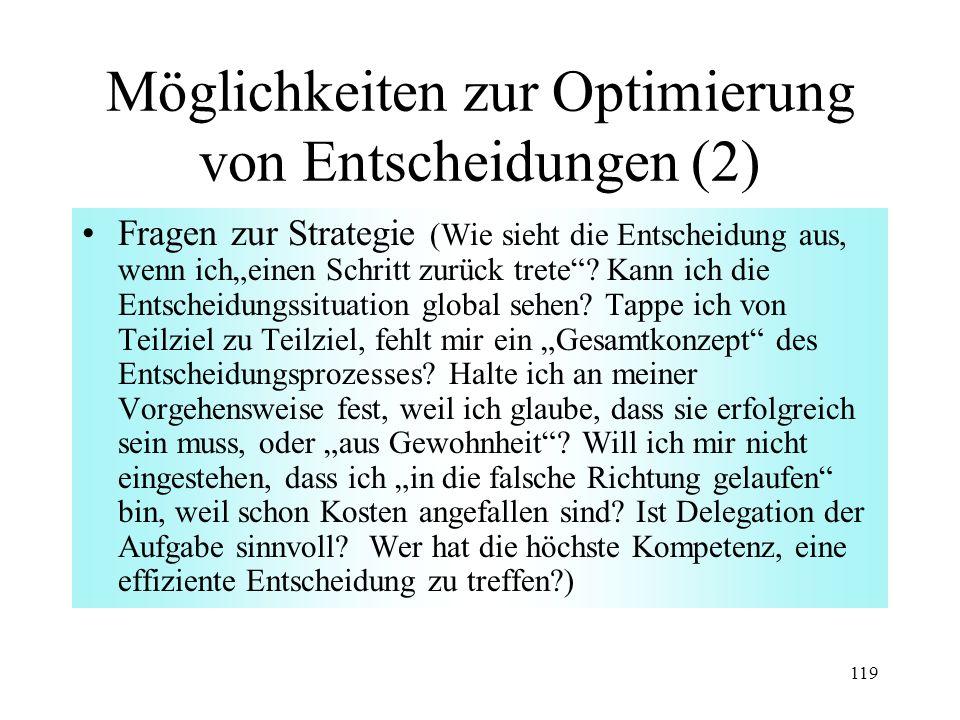 Möglichkeiten zur Optimierung von Entscheidungen (2)