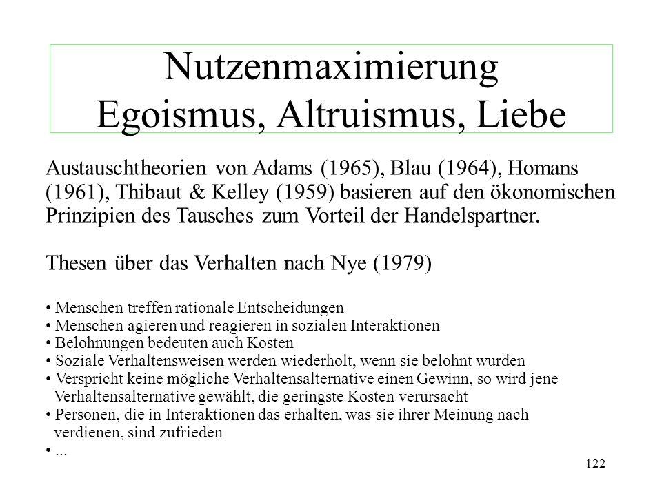 Nutzenmaximierung Egoismus, Altruismus, Liebe