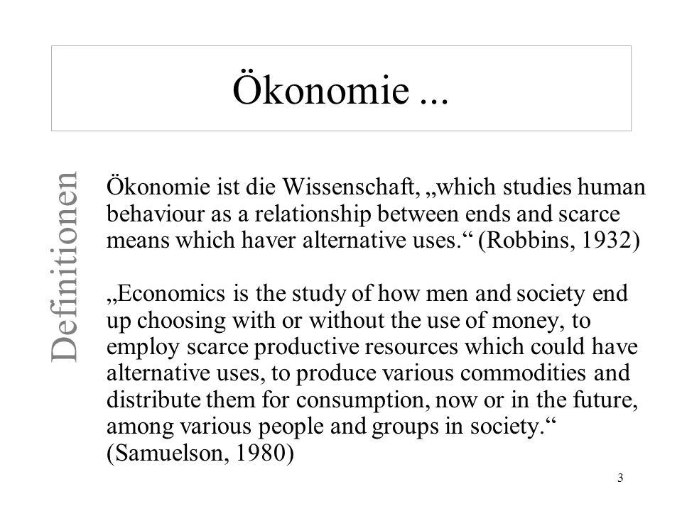 Ökonomie ... Definitionen