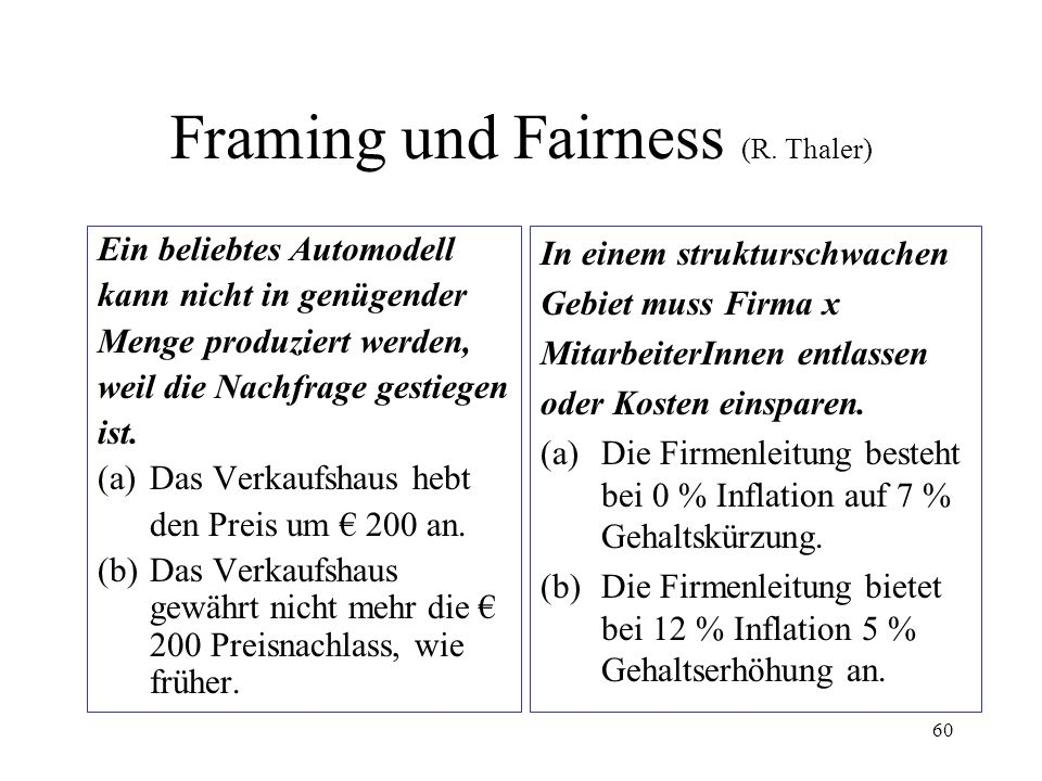 Framing und Fairness (R. Thaler)