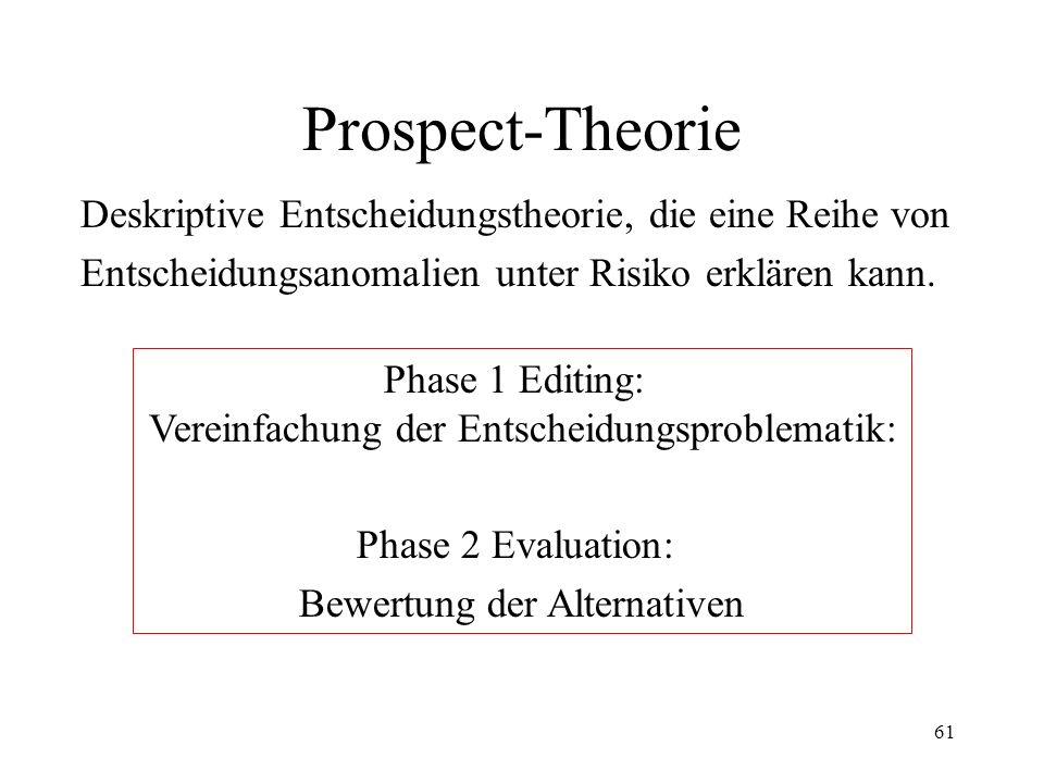 Prospect-Theorie Deskriptive Entscheidungstheorie, die eine Reihe von