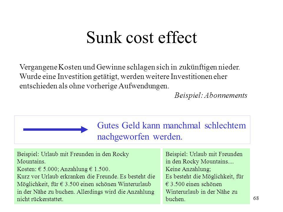 Sunk cost effect Gutes Geld kann manchmal schlechtem