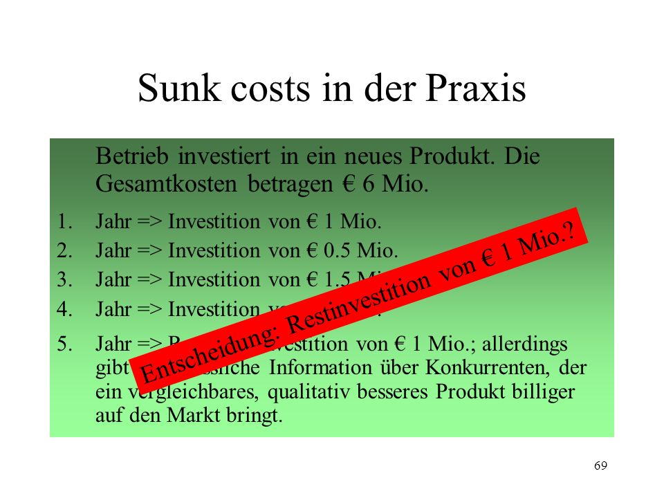 Sunk costs in der Praxis