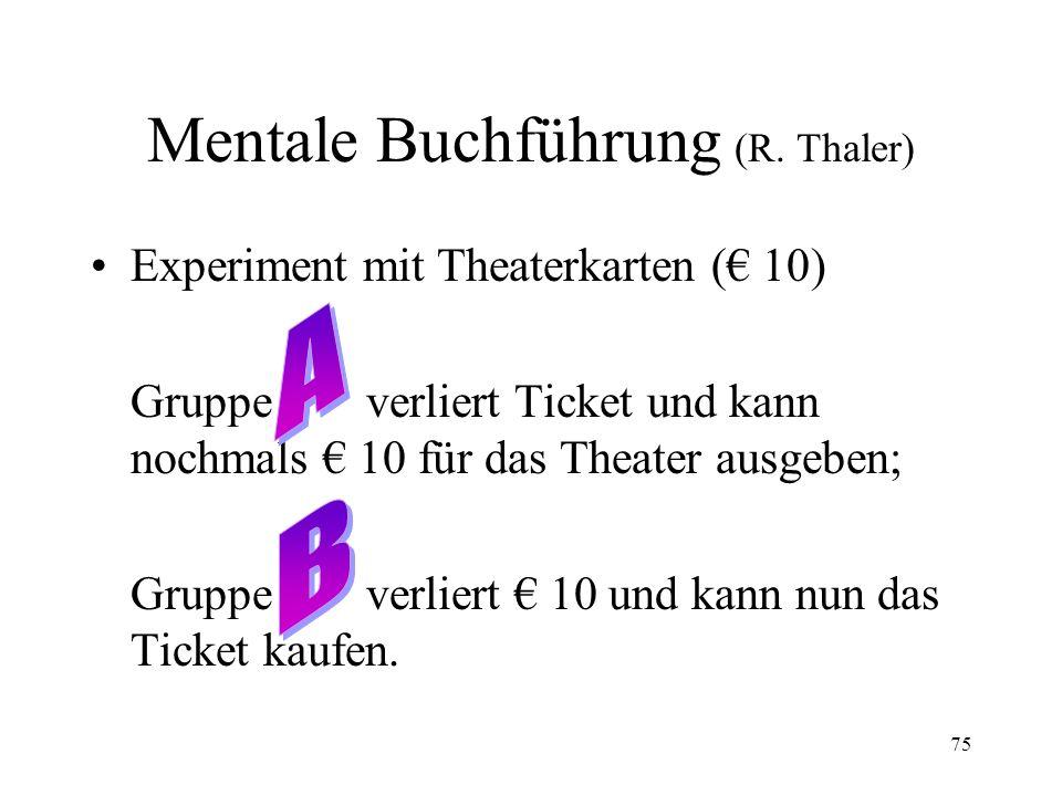 Mentale Buchführung (R. Thaler)