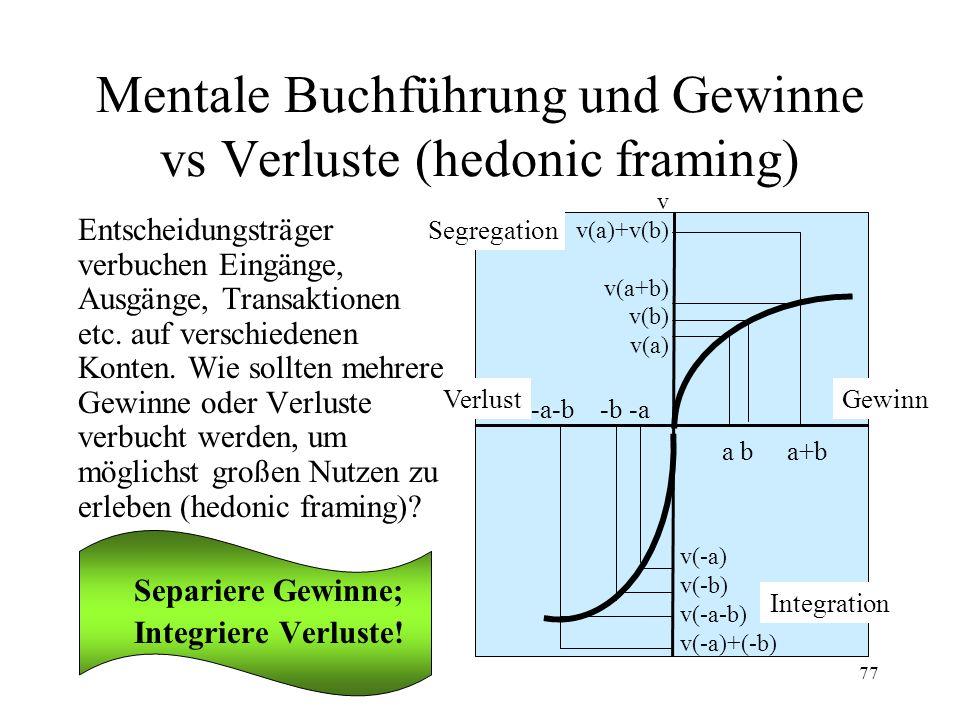 Mentale Buchführung und Gewinne vs Verluste (hedonic framing)