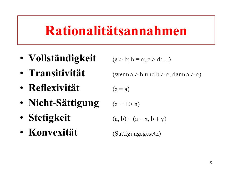 Rationalitätsannahmen