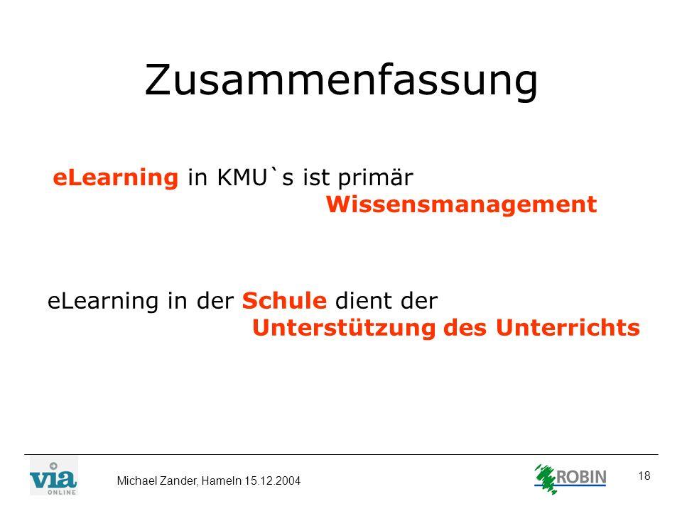 Zusammenfassung eLearning in KMU`s ist primär Wissensmanagement