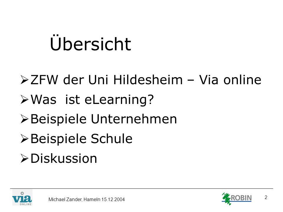 Übersicht ZFW der Uni Hildesheim – Via online Was ist eLearning