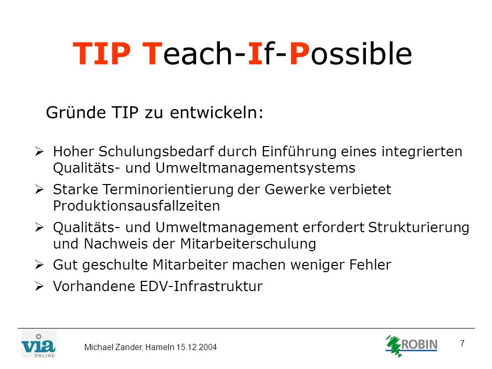 TIP Teach-If-Possible