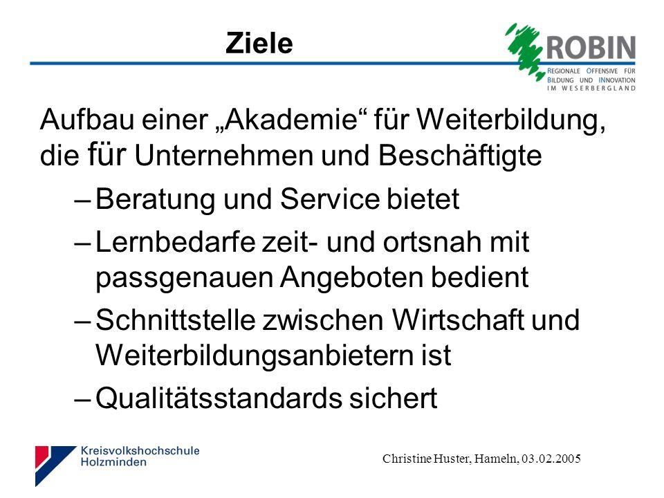 """Ziele Aufbau einer """"Akademie für Weiterbildung, die für Unternehmen und Beschäftigte. Beratung und Service bietet."""