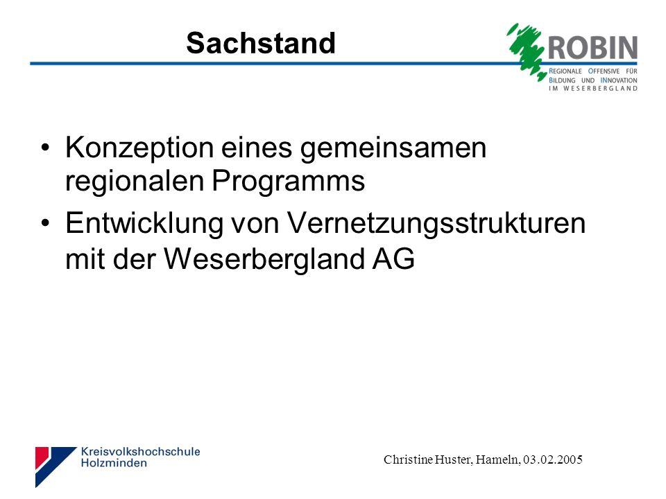 Sachstand Konzeption eines gemeinsamen regionalen Programms.