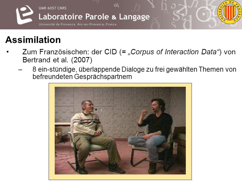 """Assimilation Zum Französischen: der CID (= """"Corpus of Interaction Data ) von Bertrand et al. (2007)"""
