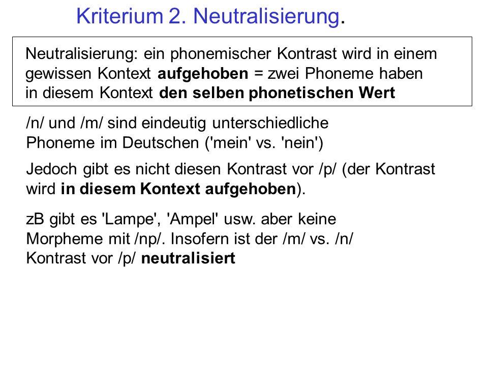 Kriterium 2. Neutralisierung.