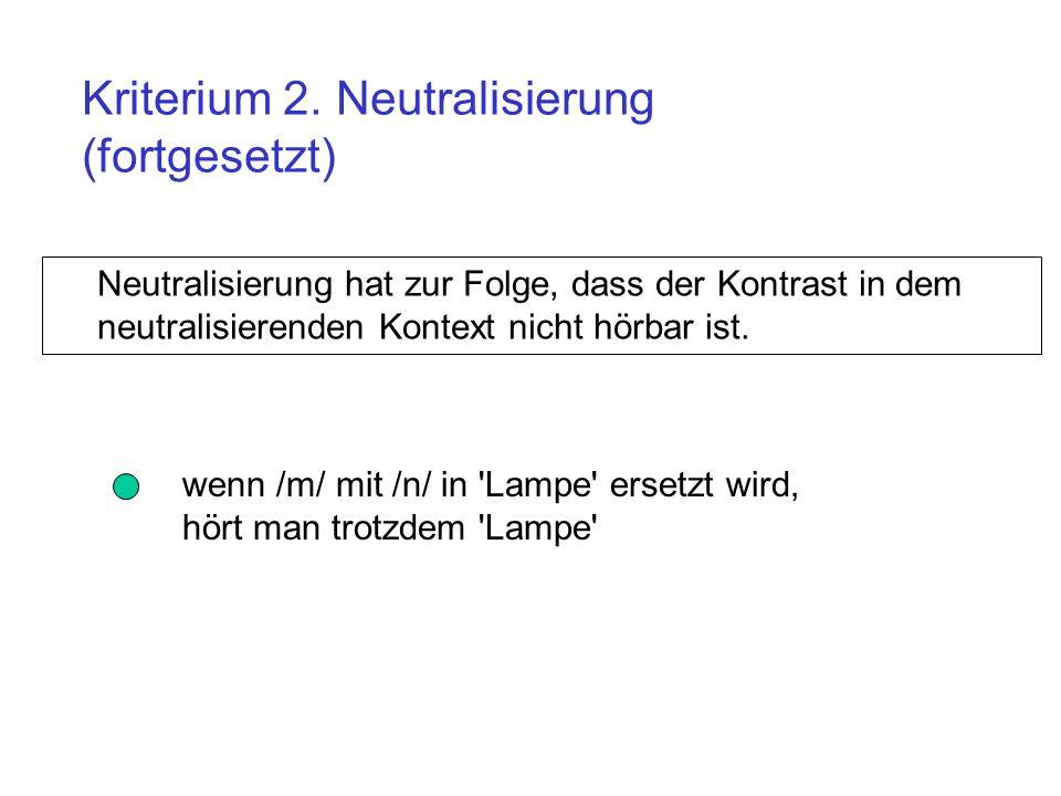 Kriterium 2. Neutralisierung (fortgesetzt)