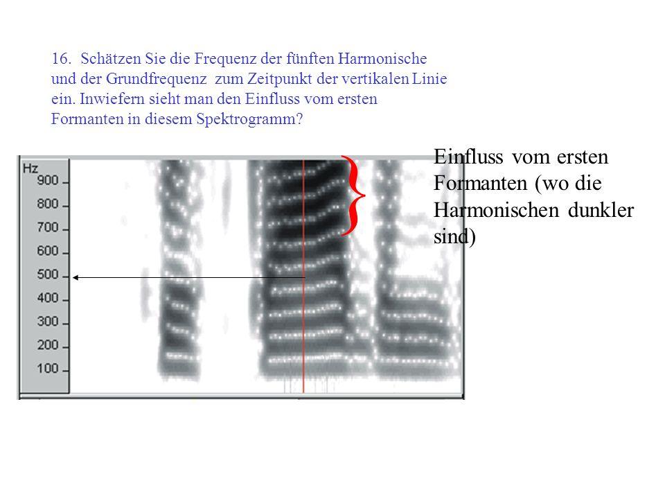 } Einfluss vom ersten Formanten (wo die Harmonischen dunkler sind)