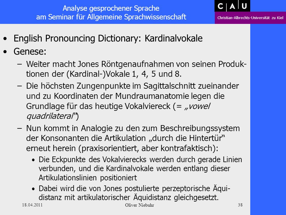 English Pronouncing Dictionary: Kardinalvokale Genese: