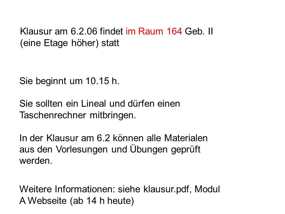 Klausur am 6.2.06 findet im Raum 164 Geb. II (eine Etage höher) statt