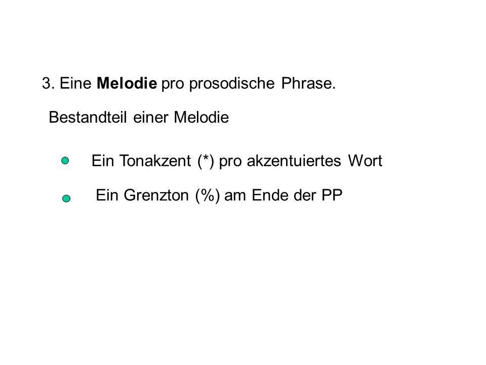 3. Eine Melodie pro prosodische Phrase.
