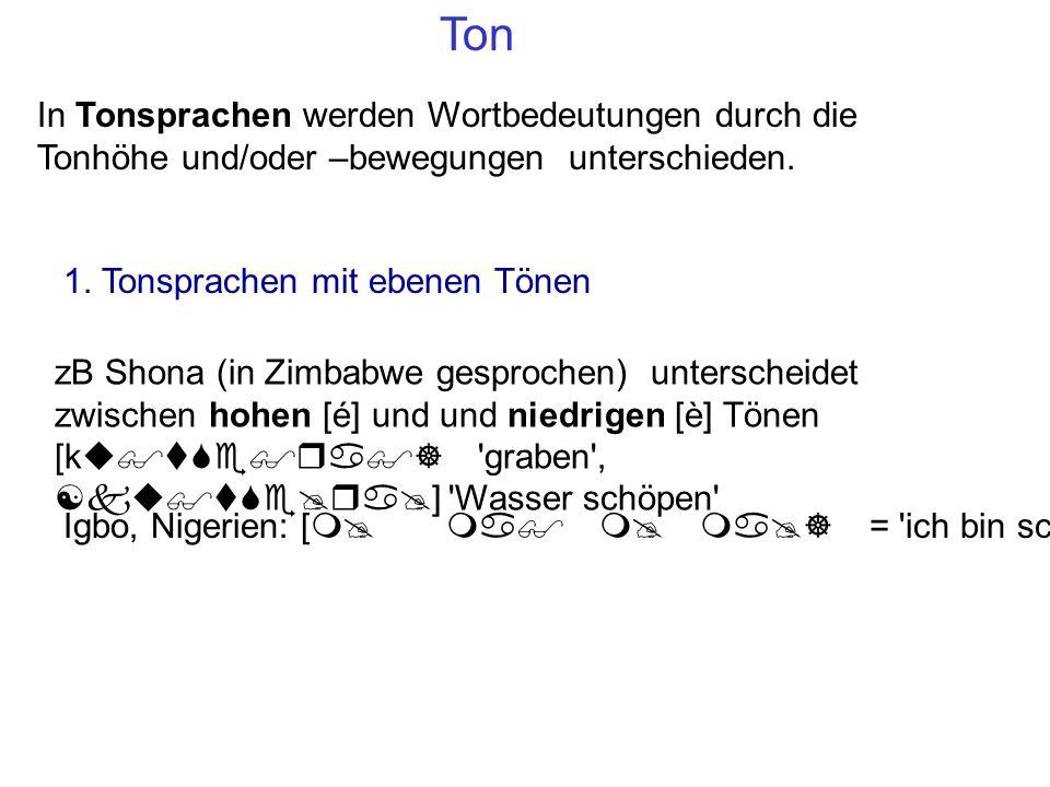 Ton In Tonsprachen werden Wortbedeutungen durch die Tonhöhe und/oder –bewegungen unterschieden.