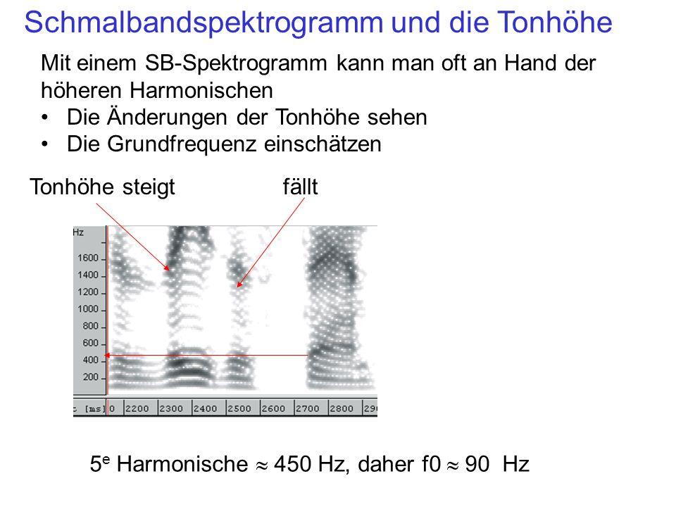 Schmalbandspektrogramm und die Tonhöhe