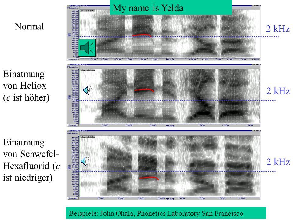 Einatmung von Schwefel- Hexafluorid (c ist niedriger) 2 kHz